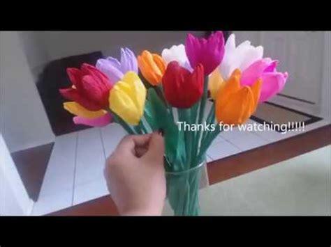 membuat bunga tulip kertas krep unik youtube