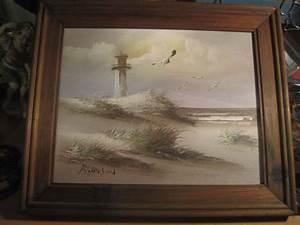 K. Wilson Oil on Canvas Framed Lighthouse Beach Painting ...