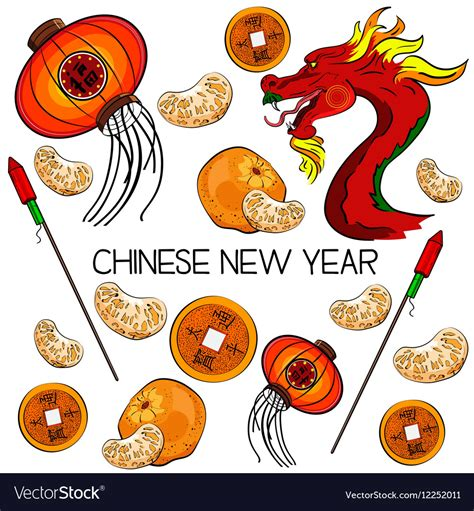new year symbol traditional symbols of new year royalty free vector