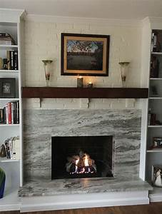 Brown, Fantasy, Leathered, Stone, Fireplace, Surround, And, Hearth, With, White, Millwork, Fireplace, By