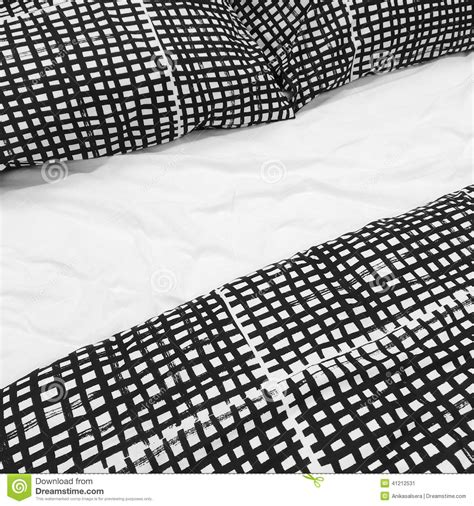 black and white bed linen black and white bed linen with pillows stock photo image
