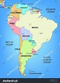Illustrated Political Map South America Stock Illustration ...