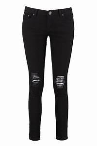 Boohoo Womens Laura Ripped Knee Black Skinny Jeans