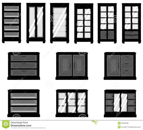 kitchen cupboard interior storage sets of silhouette cabinets create by vector stock vector