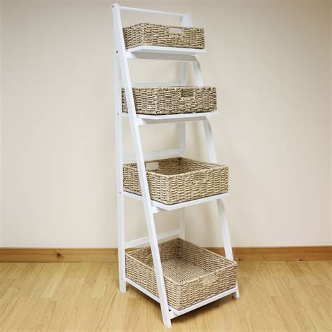 White 4 Tier Wooden Ladder Shelf Display Unit & Natural