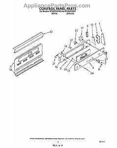 Parts For Whirlpool Rf395pxxn0  Control Panel Parts