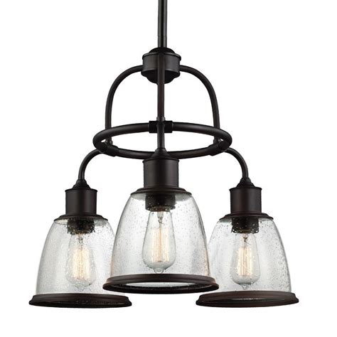 feiss hobson 3 light rubbed bronze single tier