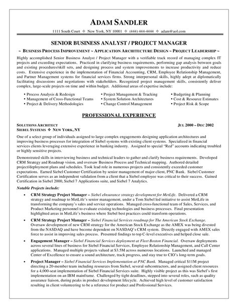 Business Analyst Resume Template by Business Analyst Resume Exle Wfm Wfo Ba Pmp Work