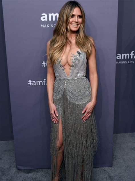 Heidi Klum Stuns Very Low Cut Dress Amfar Gala