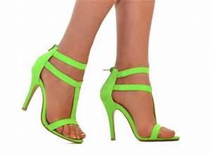 Womens Neon Green Ankle Cuff Strappy Stiletto High Heel