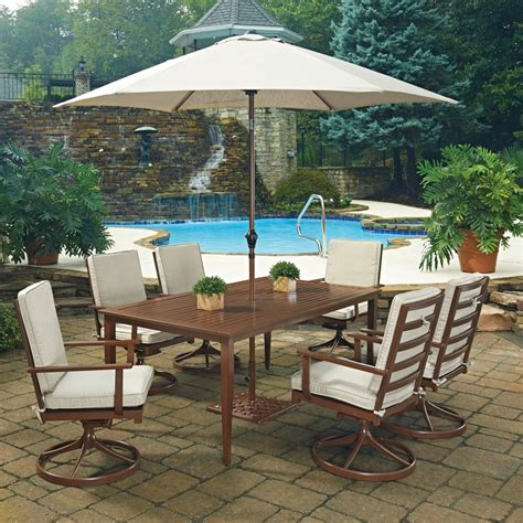 key west 9 pc rectangular outdoor dining table 6 swivel