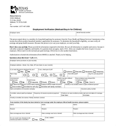 Handling employees who want to waive coverage from health insurance. 11+ Sample Employment Verification Forms | Sample Forms