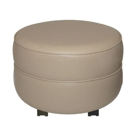 small faux leather ottoman small ella round faux leather ottoman color ivory we
