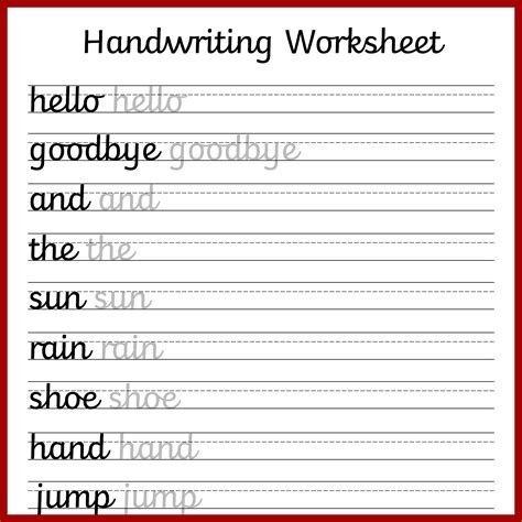 free printable handwriting sheets printable pages