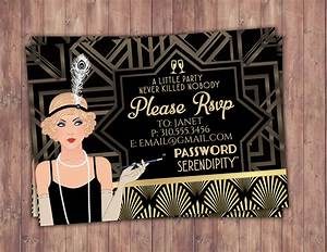 Great Gatsby birthday invitation, RSVP card, Roaring 20's