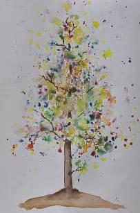 Watercolor Painting Fall Trees