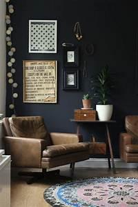 Wand Schwarz Streichen : 70 w nde streichen ideen in dunklen schattierungen wand schwarz wohnzimmer vintage ~ Fotosdekora.club Haus und Dekorationen