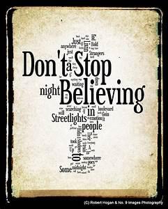 Items similar to Don't Stop Believing Lyrics - Journey ...