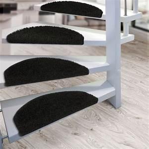tapis escalier marchettes set de 15 demilune noir With tapis pour escalier intérieur