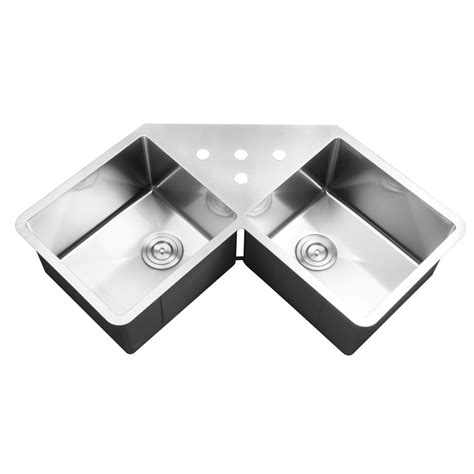 stainless steel undermount corner sink 43 inch stainless steel undermount butterly corner double