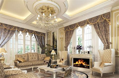 Luxury European-style Living Room With Fireplace