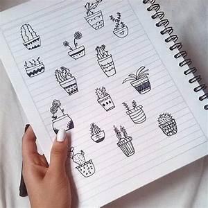 Black  Cacti  Cactus  Cute  Doodle  Nails  Notebook  Pen