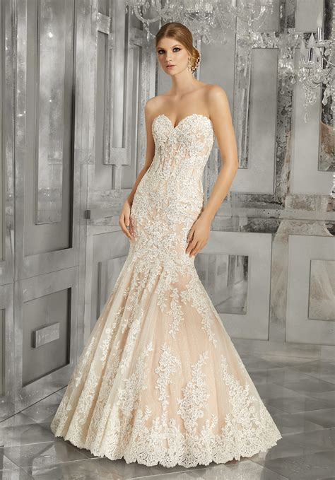 lace fit and flare dress morella wedding dress style 8185 morilee