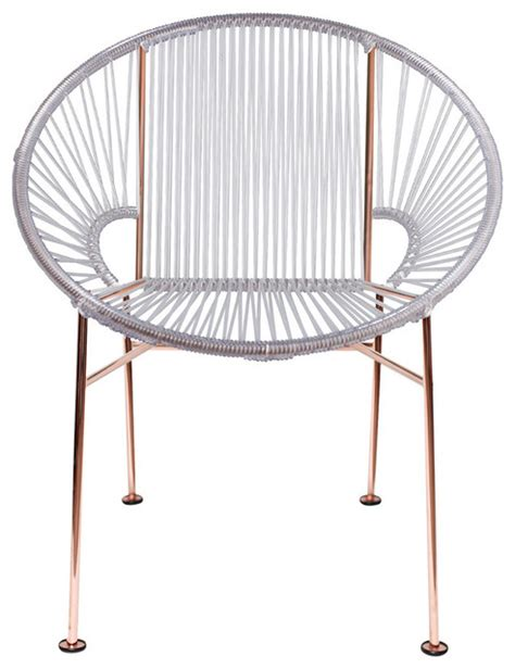 concha vinyl cord chair with copper frame contemporary
