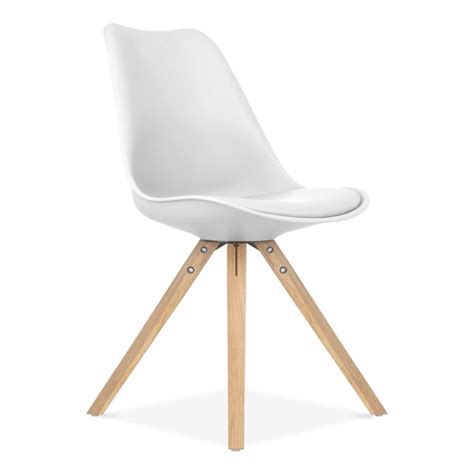 chaises design blanche eames inspired white dining chair with pyramid oak wood