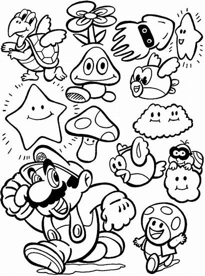 Mario Coloring Pages Characters Colour Super Retro