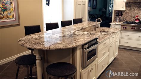 Bianco Antico Kitchen Countertops with a Two Tier Island