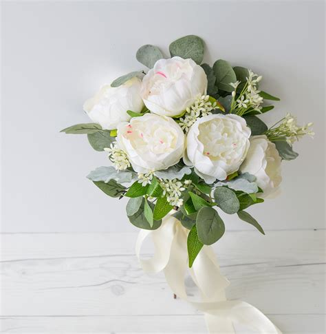 Natural Touch Roses Peony Silk Wedding Bouquet