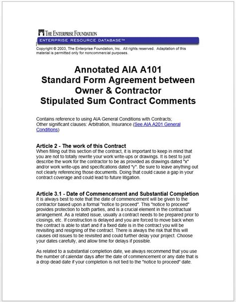 annotated aia  standard form agreement  owner