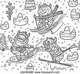 Skiing Yeti Mountain Clipart Seamless Cartoon Fotosearch Clip Coloring Snowboarding Drawn Ink sketch template