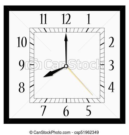 square wall clock vector illustration office square clock