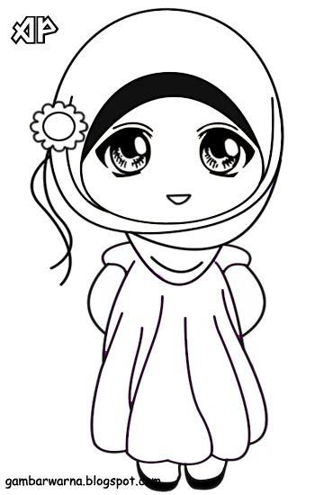 gambar mewarnai gambar sketsa kartun anak muslimah 53
