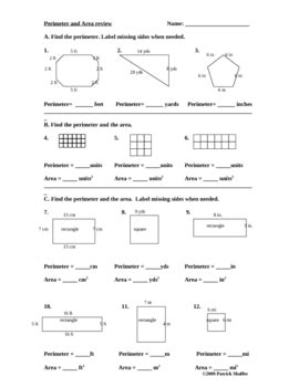 a review of area worksheet perimeter and area review math worksheet geometry
