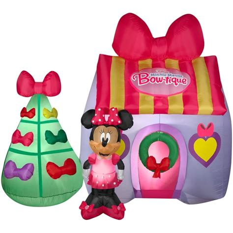christmas airblown inflatable disney minnie mouse bowtique