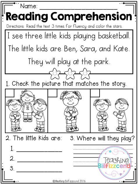 free kindergarten reading comprehension set 2