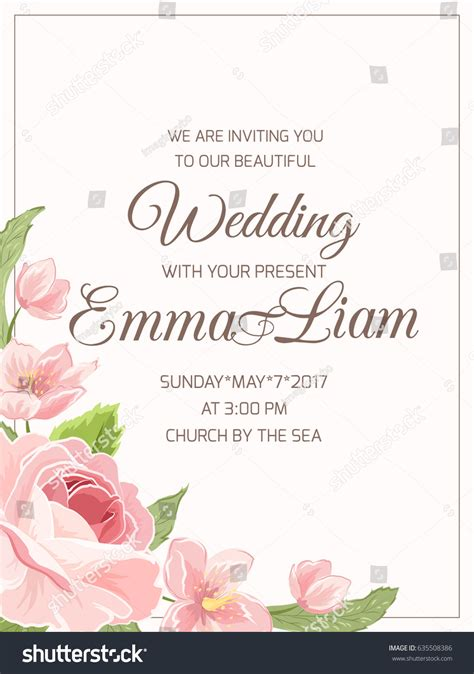 wedding marriage invitation card template rsvp stock