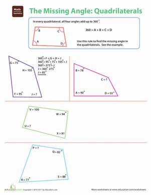 the missing angle quadrilaterals worksheet education com