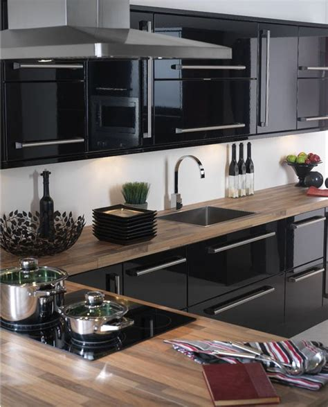 high gloss black kitchen cabinets ideas para decorar cocinas color negro 7041