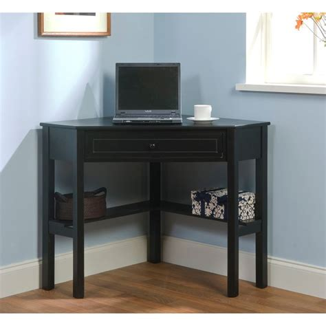 simple desk with drawers simple living black wood corner computer desk with drawer