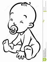Sitting Dummy Boy Funny Vector Coloring Drawing Children Illustration Clipart Drawings Boys Line Romper Clip Sketch Human Pacifier Sit Icon sketch template