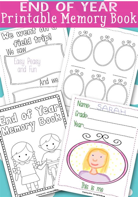 free end of year memory book printables free homeschool