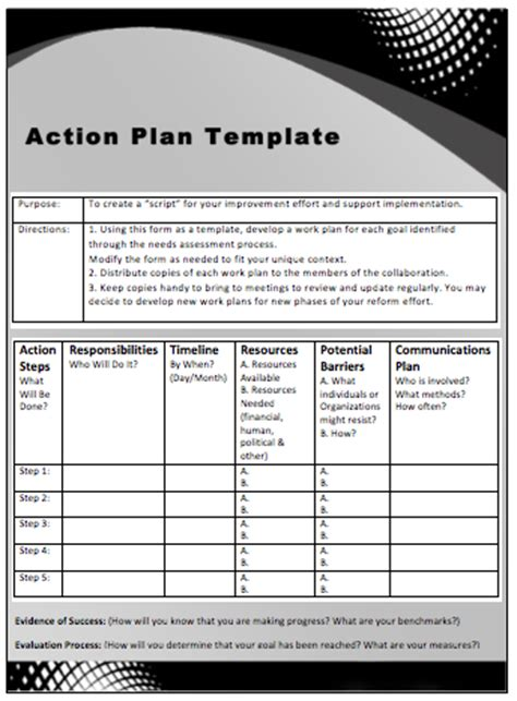 action plan templates microsoft office templates