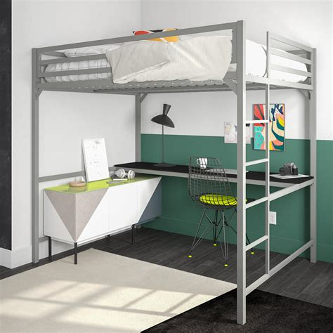 Metal Bunk Bed With Desk by Metal Loft Bed With Desk Dhp Furniture