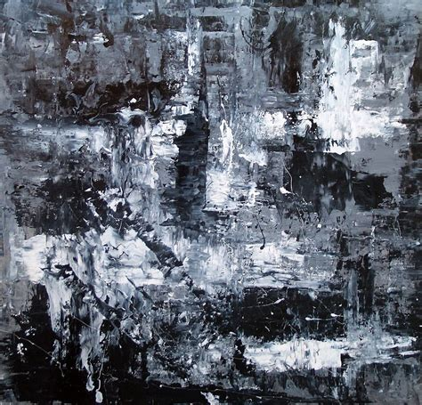 Abstract Painting Black And White by Black And White Abstract Monochromatic Abstract Painting