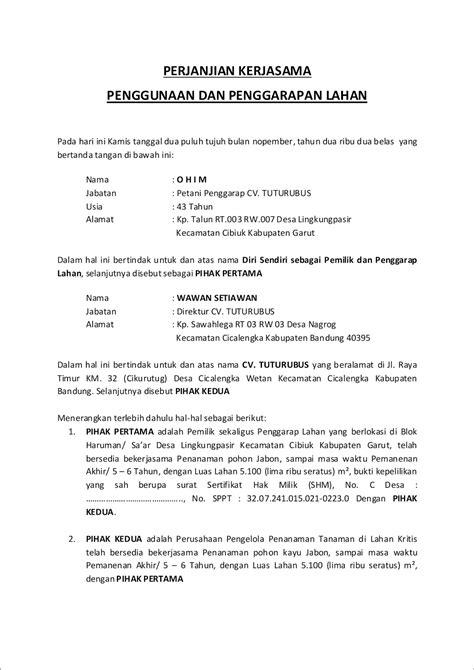 contoh surat perjanjian kerjasama catering