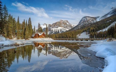 nature landscape lake cabin winter mountain snow